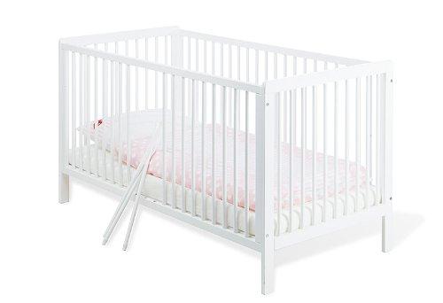 Pinolino – 11 14 75 – Kinderbett Lenny 140 x 70 cm – mit 3 Schlupfsprossen aus vollmassiver Kiefer, weiß lackiert