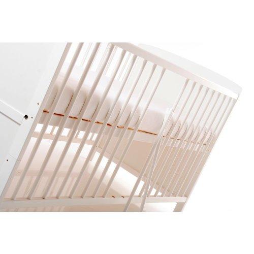 BABYBLUME Kinderbett Gitterbett Jugendbett Teilmassiv 140×70 cm – Tina Weiß