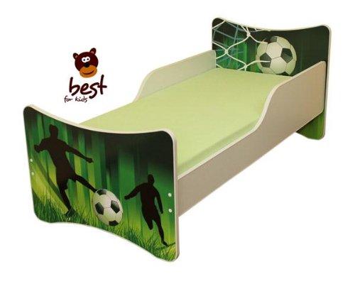 BEST FOR KIDS KINDERBETT mit Schaummatratze mit TÜV ZERTIFIZIERT 90×200 30 DESIGNS (Fussball)
