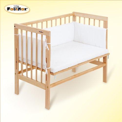 FabiMax Beistellbett 2386 Basic inklusiv Matratze Comfort und Nest Amelie, natur / weiß