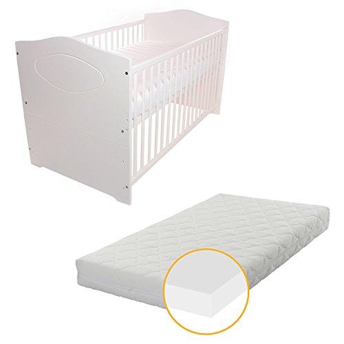 Babyblume Babybett Kinderbett 140×70 Umbaubar – Kuba in verschiedenen Varianten (Weiss inkl. Matratze PLUS)