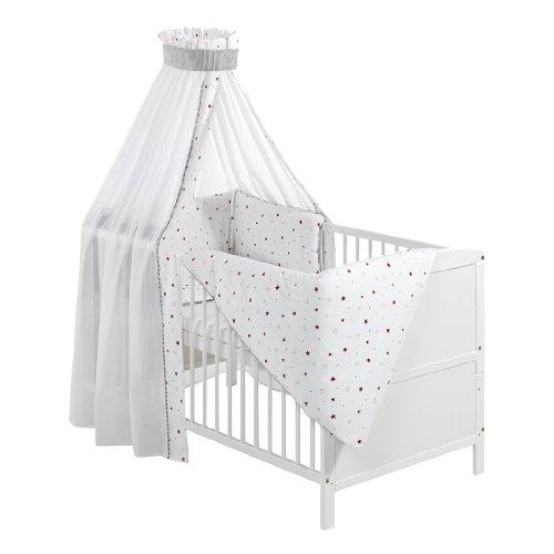 Schardt 040771902 1/679 Komplettbett Conny, weiß, mit textiler Ausstattung Sternchen, grau