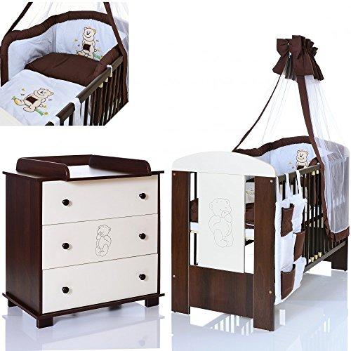 Bär braun Baby Kinderzimmer Komplett Möbelset 120×60 Bett + Matratze, Wickelkommode mit Ablage und 9 Teile Bettwäsche Set