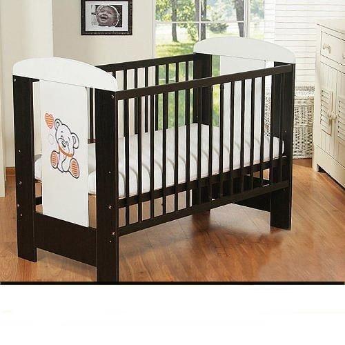 Best For Kids Gitterbett My Sweet Baby mit neuer 10 cm Matratze aus Schaumstoff TÜV Zertifiziert Geprüft, Kinderbett Babybett braun 4 Teile 120×60