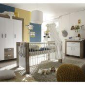 6tlg. Babyzimmer Balu Kinderzimmer Schrank Bett Wickelkommode Wildeiche Trüffel - 1