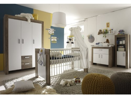 6tlg babyzimmer balu kinderzimmer schrank bett wickelkommode wildeiche tr ffel. Black Bedroom Furniture Sets. Home Design Ideas