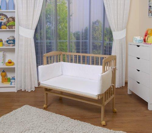 WALDIN Baby Beistellbett mit Matratze und Nestchen, 8 Modelle wählbar, natur unbehandelt,weiß