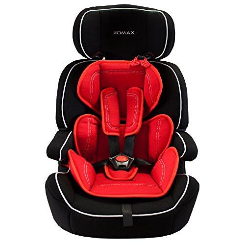 XOMAX XM-K5 RED BLACK Autokindersitz + Gruppe I / II / III (9 – 36 kg) + ECE R44/04 geprüft + Farbe: Schwarz / Rot + mitwachsend + 5-Punkte-Sicherheitsgurt + Kopfstütze verstellbar + Rückenlehne abnehmbar / Bezüge abnehmbar & waschbar