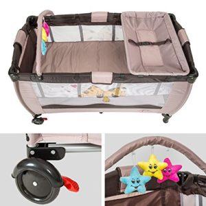 TecTake Kinder Reisebett höhenverstellbar mit Babyeinlage Coffee - 5
