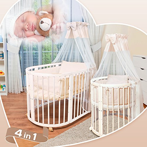 comfortbaby erweiterbares babybett kinderbett smartgrow 7in1 aus massivholz in weiss. Black Bedroom Furniture Sets. Home Design Ideas