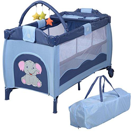 Reisebett Babybett Klappbett Babyreisebett Kinderbett Multi-Funktion Kinderreisebett Baby Laufstall Inkl. Matratze+Zubehör (Blau)